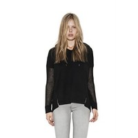Womens Black Harper Semi-Sheer Pullover Long Sleeve Sweater By One Grey Day