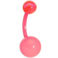 BIOPLAST Pink GLOW in the DARK Belly Ring | Body Candy Body Jewelry