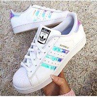 """Adidas"" Women Fashion Reflective Flats Sneakers Sport Shoes F"