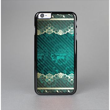 The Yellow Elegant Lace on Green Skin-Sert for the Apple iPhone 6 Skin-Sert Case