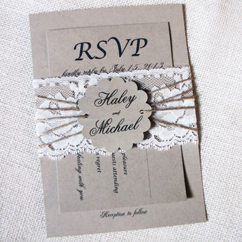 Vintage Lace Kraft Wedding Invitation