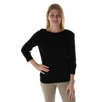 Cable & Gauge Womens Knit 3/4 Sleeves Pullover Sweater