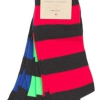 K. Bell 3 Pairs Rugby Striped Neon Crew Socks, Men's Size 10-13