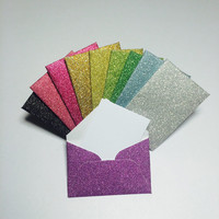 """Mini glitter envelopes with tiny note cards 1x1.5"""""""