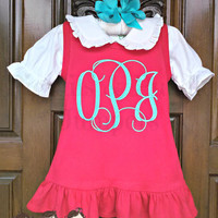 Monogrammed Valentine's Dress, Red Ruffle Valentine Dress for baby girl. todler girl, little girl, youth