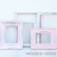 Pink White Delicate Collection - Wall Gallery - Upcycled set of 5