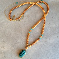 Success, Sandalwood and Turquoise Mala with Ganesh Pendant