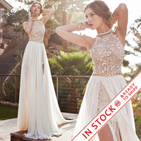 Romantic Ivory Lace Vestido de Noiva Beaded Sexy Backless High Low Beach Vintage Wedding Dress Chiffon 2016 Robe de Mariage