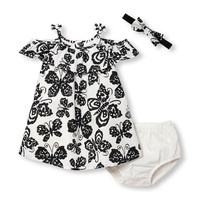 Baby Girls Sleeveless Butterfly Print Dress Headwrap And Bloomers Set | The Children's Place