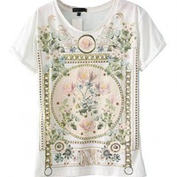 Premium Cotton T-Shirt with Rolled Cuffs and Printed Details