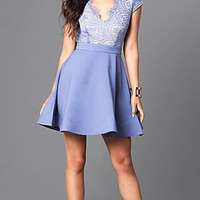Short Sleeved Semi-Formal Lace Homecoming Dress