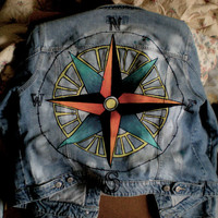 Compass Painted Jean Jacket