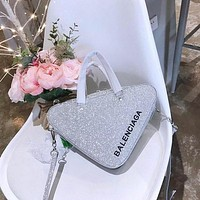 BALENCIAGA Triangle Duffle XS glittered leather tote Bag