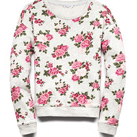 FOREVER 21 GIRLS Garden Princess Sweatshirt (Kids) Oatmeal/Pink X-Large