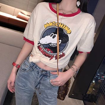 """""""Moschino x Disney"""" Women Fashion Cartoon Mickey Mouse Sequin Embroidery Short Sleeve Knit T-shirt Top Tee"""