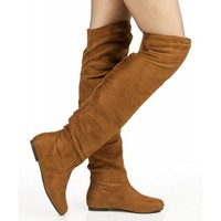 Room Of Fashion Vickie Hi Vegan Slouchy Elastic Knee High Boot CAMEL SUEDE