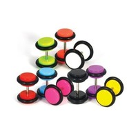 Earrings Lot of 14 Pieces Multi-Color Acrylic Fake Plugs Kit 0G Gauges Look (7 Pairs)