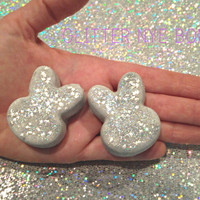 Glitter Bunny Bath Bombs, Kids, Organic, Vegan, Cruelty free, sparkle, silver, New Years Eve