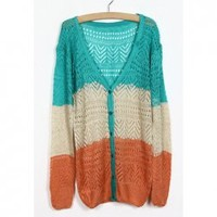 Casual V Neck Long Sleeve Color Blocking Knitting Cardigan For Women