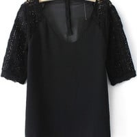 Black V-Neckline Sheer Lace Sleeve Blouse