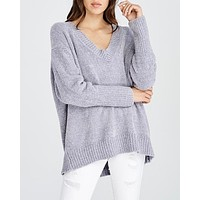 Chenille Pullover Sweater in Silver