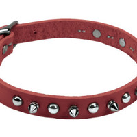 """Circle T Spiked Leather Dog Collar 5/8""""x 14"""" Red"""