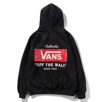 Vans & Off Fashion New Bust Letter Print And Back Letter Print Thick Keep Warm Couple Hooded Long Sleeve Top Sweater Black