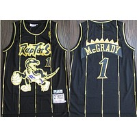 1998-99 Mitchell & Ness 1 Tracy Mcgrady Black/gold Swingman Jersey
