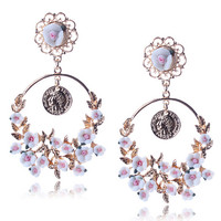 White Floral and Coin Statement Drop Earrings
