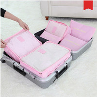 New 6pcs/set Women Travel Storage Bag High Capacity Luggage Clothes Tidy Organizer Pouch Portable Waterproof Storage Case