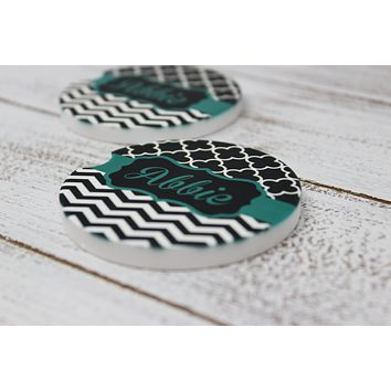 Personalized Car Coasters | Custom Car Accessories | Teal Chevron | Set of 2