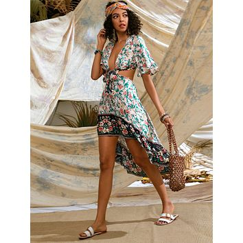 Allover Floral Plunging Tie Front High-Low Dress