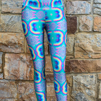 High Waisted Printed Legging - Glows in UV Light! Perfect for Burning Man, Rainbow Serpent, Tomorrowland, Boom, EDC