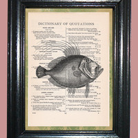 Ocean Long Fin Fish - Vintage Dictionary Page Book Art Print Upcycled Page Art Print on Dictionary Page, Fish Print