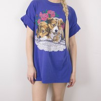 Vintage 1994 Puppy Dog Floral T Shirt