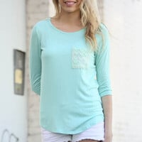 Mint Solid Knit With Lace Back Top