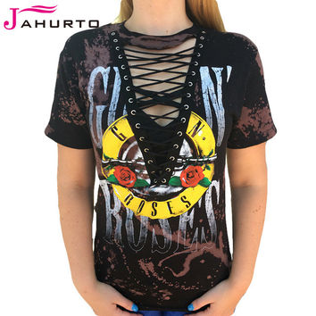 Jahurto Guns N Roses T-Shirts For Women Low Cut Hollow Out Lace Up Sexy Top Punk Rock Graphic Tees Women Black Shirt