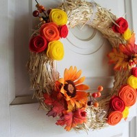 Fall Wreath with felt flowers (Custom order)
