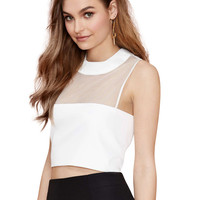 White Sleeveless High Neckline Crop Top with Sheer Mesh Details
