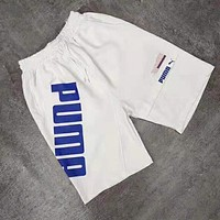PUMA Summer Popular Women Men Print Sports Running Shorts White