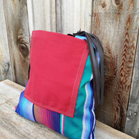 Mexican Serape and Leather Tote