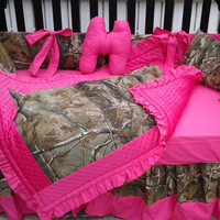 New 7 piece brown real tree CAMOUFLAGE baby crib bedding set w/ hot pink minky dot fabrics camo