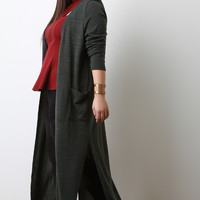 Soft Knit Side Slit Maxi Cardigan