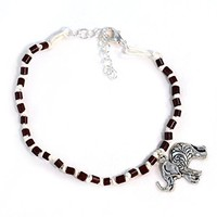 Elephant Ankle Bracelet - Boho Anklet in Brown and Tan with Silver Toned Charm
