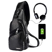 Men's Leather Sling Bag Chest Shoulder Backpack Crossbody Bag with USB Charging Port for Travel, Hiking,Cycling 1-small-black