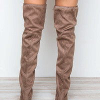 Showdown Thigh High Boots - Taupe