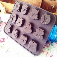 Lovely Silicone Owl Cake Decorating Mould Candy Cookies Chocolate Soap Baking Mold Tool (Size: One Size)