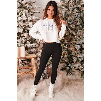 """""""Merry"""" Cropped Graphic Hoodie (White) - Print On Demand"""