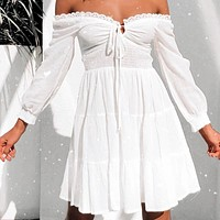 2020 new women's lace-up solid color high waist sexy one-line neck pleated dress