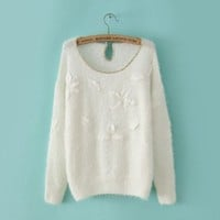 White Long Sleeve Applique Contrast Gold Trims Sweater